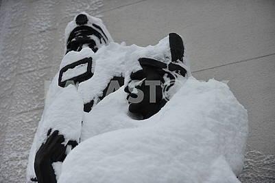 Занесенные снегом скульптуры