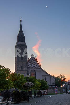 Church in Bolesławiec in the evening