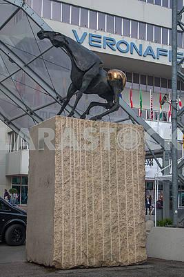 Bronze horse on the pedestal