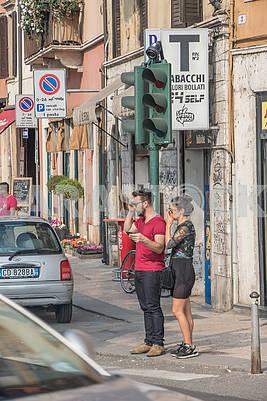 Passers-by on Verona Street