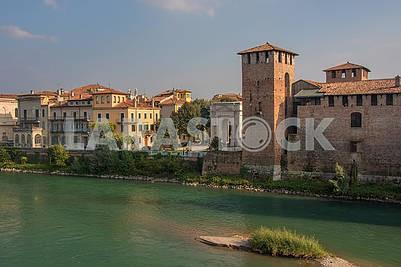 The Adige River and the Castle of Calvecchio