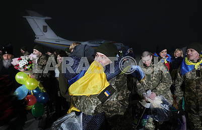 Meeting of Ukrainian soldiers released from captivity