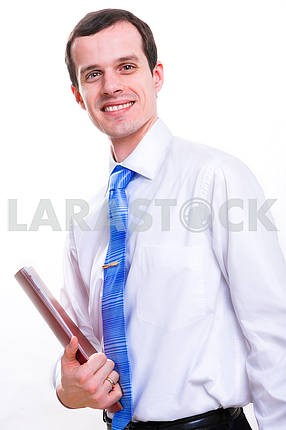 Cheerful young businessman. Isolated on white.
