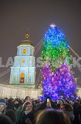 Celebrating the New Year in the center of Kiev on the night from December 31st to January 1st.