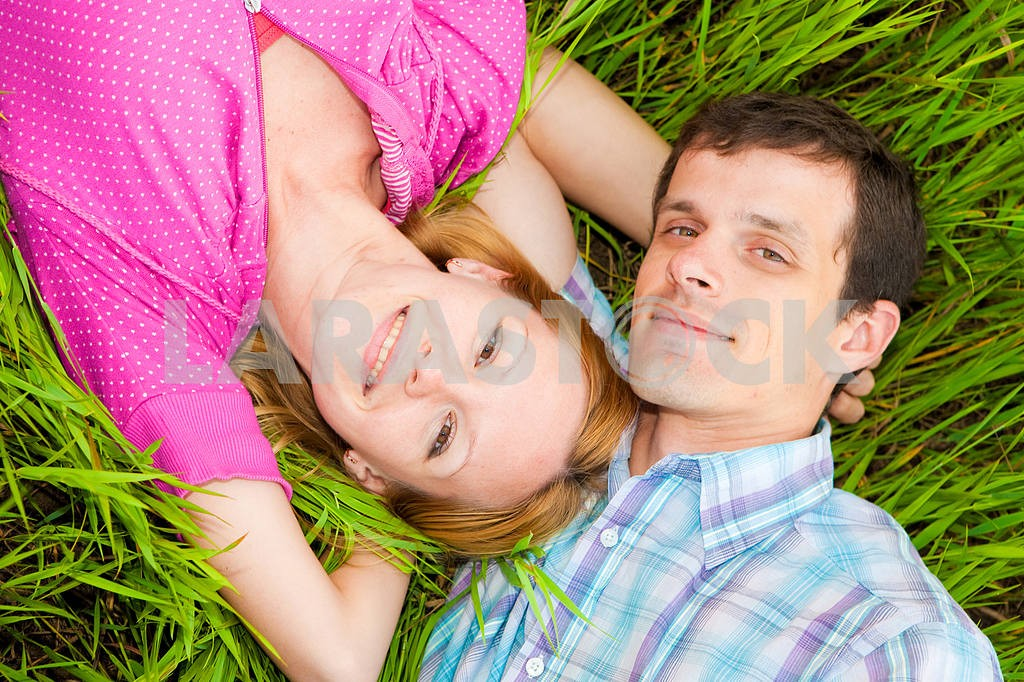 Young love Couple lie on grass — Image 6743
