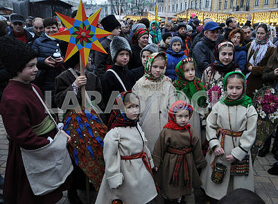 Christmas procession with stars