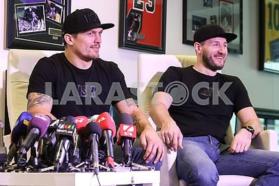 WBO heavyweight champion Alexander Usik and his coach Sergey Vatamanyuk