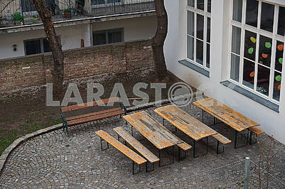 Wooden tables and benches