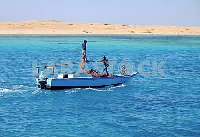 Fishing schooner in the sea