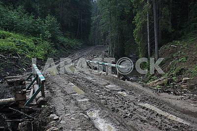 Rural road in the rainy season