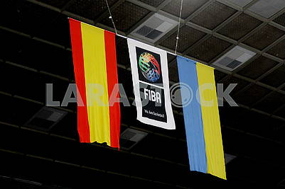 Flags of Spain FIBA ​​and Ukraine