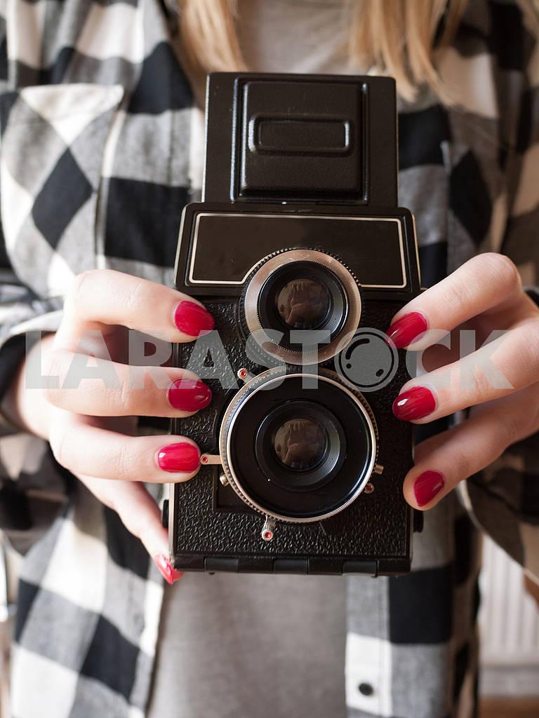 Female Holding a Vintage Camera — Image 68277