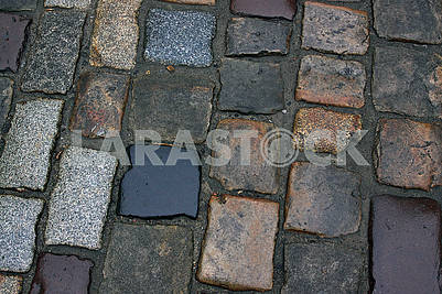 Close-up of the old cobblestones