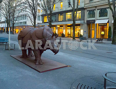A steel rhinoceros on the Bahnhofstrasse in Zurich