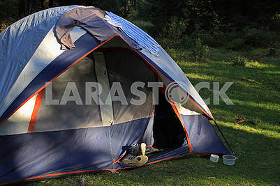 Closeup multicolored touristic tent