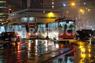 Trams on the street Starvokzalnoy in Kiev