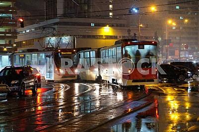 Trams on the street Starvokzalnoy in Kiev