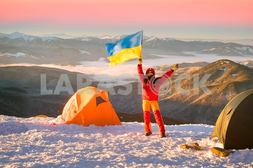 Flag of Ukraine against Montenegro Goverla — Image 69081