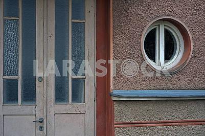 Beige facade with door and window
