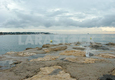Stone beach in Antibes