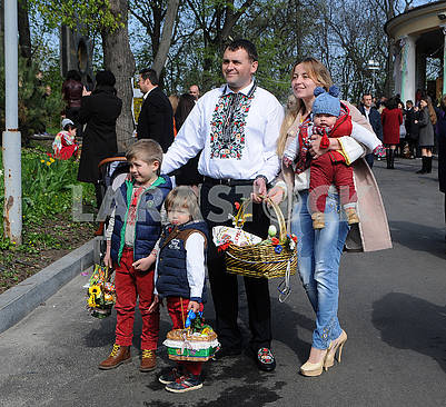Family with Easter baskets