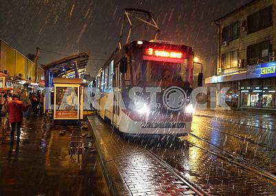Tram in the street Starovokzalnoy in Kiev