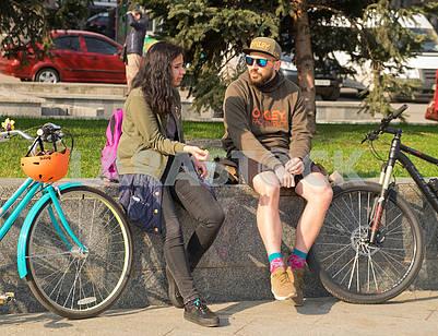 Girl, boy, bicycles