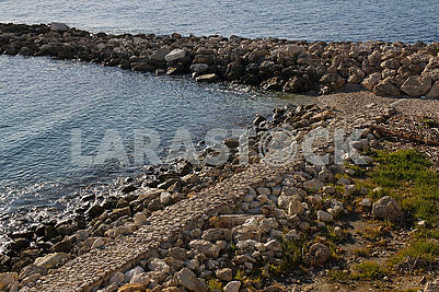 Stone spit on the Mediterranean coast