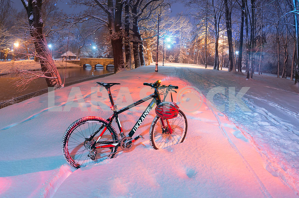 Mountain bike MTB in  snowfall — Image 70099