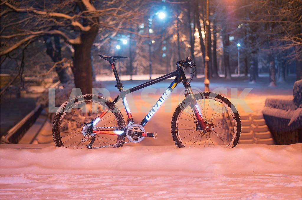 Mountain bike MTB in snowfall — Image 70116
