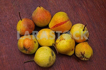 Nine mature pears