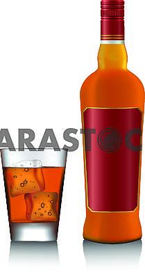 Коньяк в стакане и бутылка