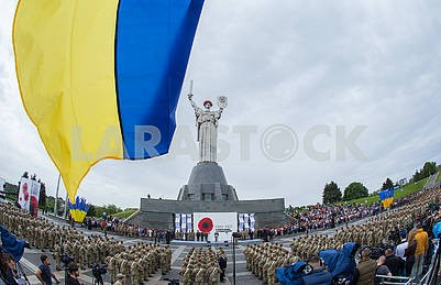 Military servicemen of the Armed Forces near the Monument Motherland