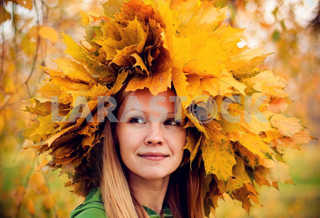 Girl wearing a wreath of yellow autumn leaves — Image 7104