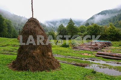A haystack in the mountains