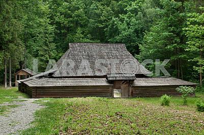 Ancient Hutsul farmstead grazhda  of the late 19th century. It i