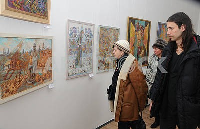 Visitors view the picture