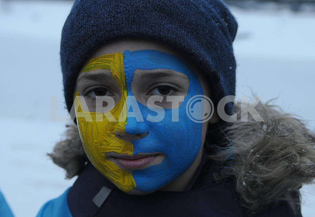 A boy with a painted yellow-blue face — Image 71983