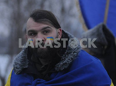 Участник акции «Объедини берега Днепра «живой цепью» Соборности»