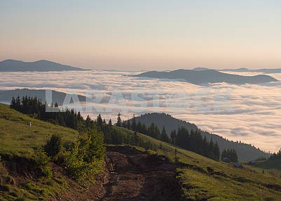 Mountain peaks and clouds in the Carpathians