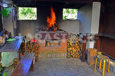 Brick barbecue in the countryside