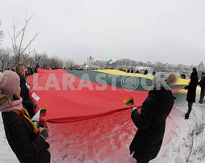 Люди развернули флаг Литвы
