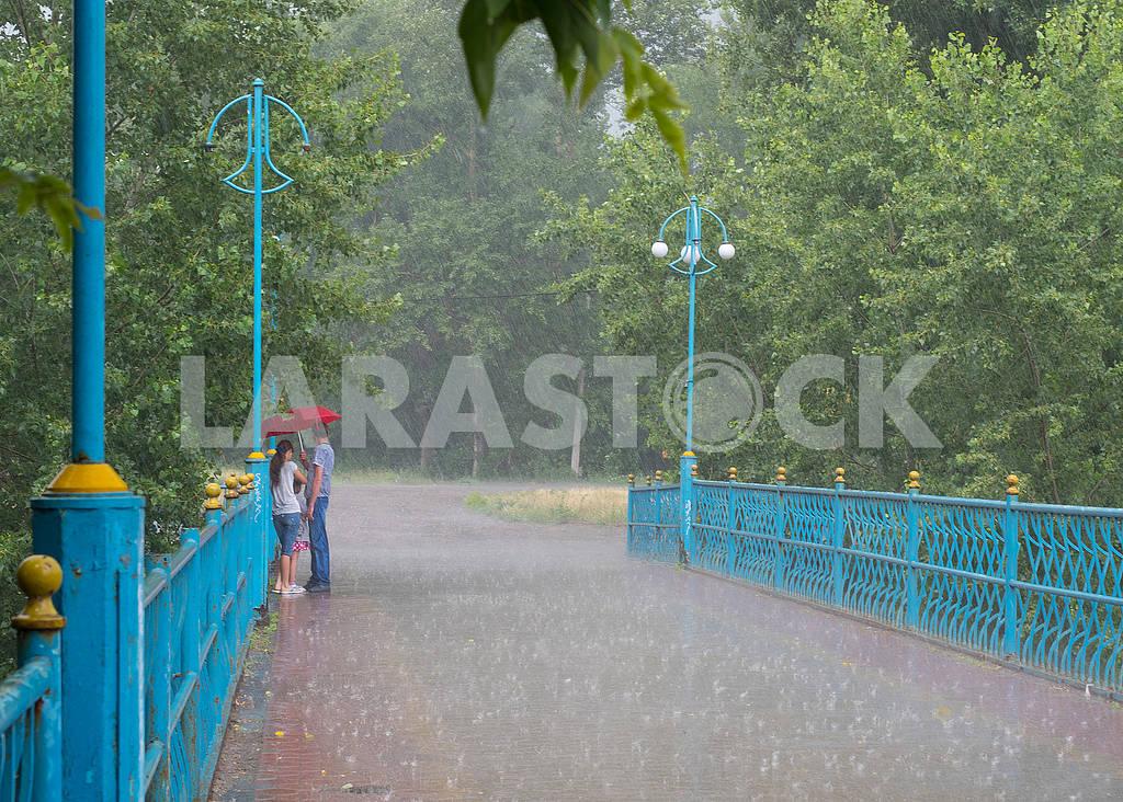 Люди на мосту под дождём — Изображение 72861