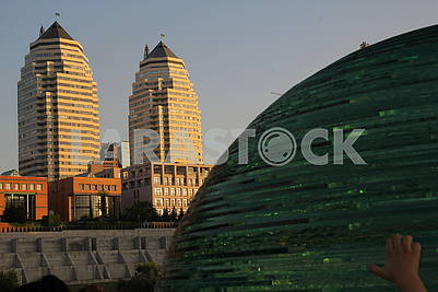 Glass ball and towers