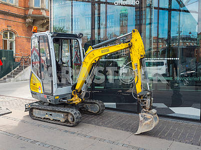 Small yellow excavator