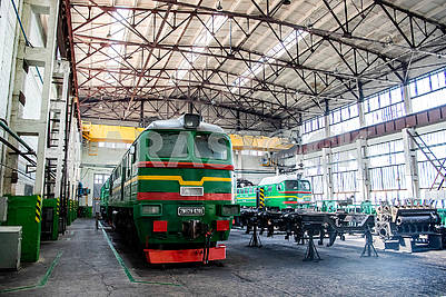 Diesel locomotives in the depot