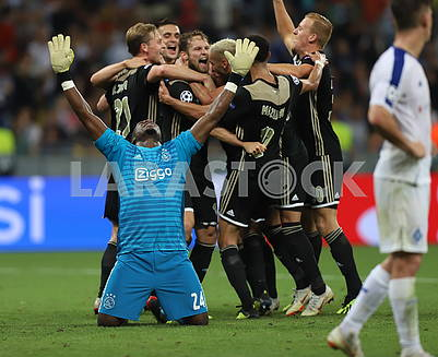 Ajax players celebrate victory
