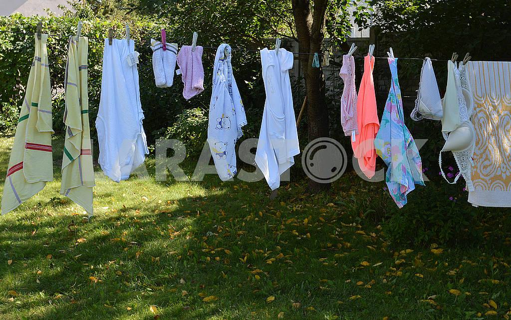 Барвисті рушники та спідня білизна сушаться на свіжому повітрі в саду — Изображение 73905