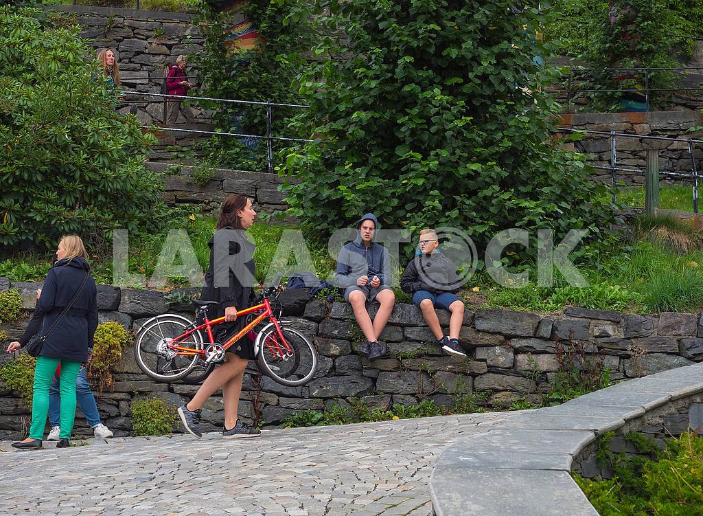Женщина несет велосипеды — Изображение 74195