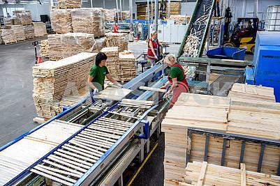 Рабочие в цеху по обработке древесины